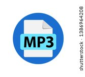 vector blue icon mp3. file... | Shutterstock .eps vector #1386964208