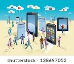 businessman and businesswoman... | Shutterstock .eps vector #138697052