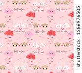 rabbit in love seamless pattern | Shutterstock .eps vector #1386976505