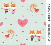 fox in love and cupid seamless... | Shutterstock .eps vector #1386976592
