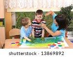 teacher two preschoolers and...   Shutterstock . vector #13869892