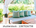 pillow on sofa chair decoration ... | Shutterstock . vector #1387026758