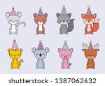 group of animals with hat party | Shutterstock .eps vector #1387062632