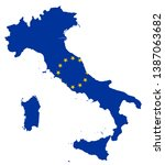 italy map coloured by eu flag... | Shutterstock .eps vector #1387063682
