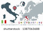 italy map and italy location on ... | Shutterstock .eps vector #1387063688