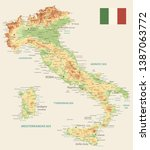 italy physical map retro color  ... | Shutterstock .eps vector #1387063772