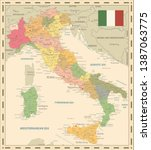 italy map retro colors   image... | Shutterstock .eps vector #1387063775