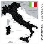 black color italy map   image... | Shutterstock .eps vector #1387063778