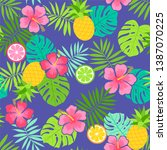 hibiscus  pineapple and... | Shutterstock .eps vector #1387070225