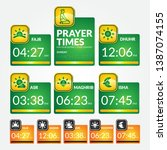 islamic prayer times schedule... | Shutterstock .eps vector #1387074155