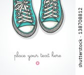 hand drawn pair of sneakers on... | Shutterstock .eps vector #138708812