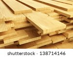 large stack of wood planks. | Shutterstock . vector #138714146
