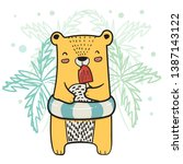 drawing cute yellow bear with... | Shutterstock .eps vector #1387143122