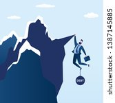 businessman try hard to hold on ... | Shutterstock .eps vector #1387145885