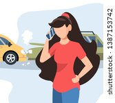 girl had a traffic accident.... | Shutterstock .eps vector #1387153742