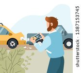 man had a car accident. motor... | Shutterstock .eps vector #1387153745
