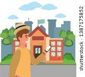 student using smartphone on... | Shutterstock .eps vector #1387175852