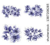 flowers set. collection of... | Shutterstock .eps vector #1387208285