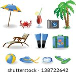 travel icons  palm  ball ... | Shutterstock .eps vector #138722642