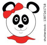 girl panda bear with red head... | Shutterstock .eps vector #1387261718