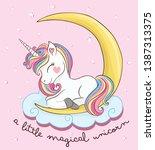 cute magical unicorn vector...   Shutterstock .eps vector #1387313375