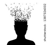 head with flying notes . vector ... | Shutterstock .eps vector #1387326032