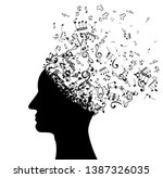 head with flying notes . vector ...   Shutterstock .eps vector #1387326035