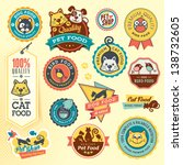 Stock vector set of animal labels and stickers 138732605