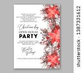 pink poinsettia merry christmas ... | Shutterstock .eps vector #1387331612