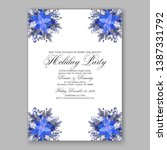 navy blue poinsettia merry... | Shutterstock .eps vector #1387331792