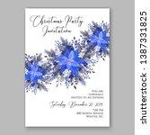 navy blue poinsettia merry... | Shutterstock .eps vector #1387331825