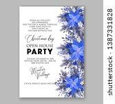 navy blue poinsettia merry... | Shutterstock .eps vector #1387331828