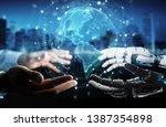 robot hand and human hand... | Shutterstock . vector #1387354898