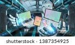 white robot on blurred... | Shutterstock . vector #1387354925