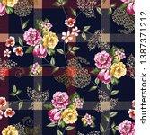 seamless checks flower and... | Shutterstock .eps vector #1387371212