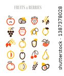 set of fruits and berries icons ... | Shutterstock .eps vector #1387378028