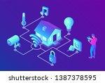 smart home system concept. 3d...   Shutterstock .eps vector #1387378595