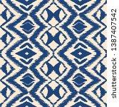 ikat seamless pattern. vector...   Shutterstock .eps vector #1387407542