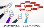 hands holding smartphone with...   Shutterstock .eps vector #1387449908