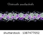 watercolor seamless floral... | Shutterstock . vector #1387477052