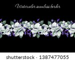 watercolor seamless floral... | Shutterstock . vector #1387477055