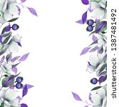 watercolor floral frames with... | Shutterstock . vector #1387481492