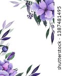 watercolor floral frames with... | Shutterstock . vector #1387481495