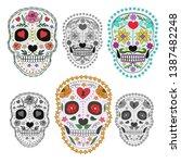 set of sugar skulls... | Shutterstock .eps vector #1387482248