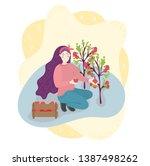 woman farmer is harvesting... | Shutterstock .eps vector #1387498262