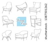 lounge chairs set  outline... | Shutterstock .eps vector #1387501262
