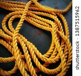 Small photo of Yellow nylon rope. Rope made of nylon is most appreciated because it is very stretchy.
