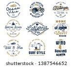 vintage surfing graphics set... | Shutterstock .eps vector #1387546652