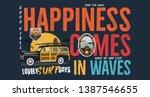 camping surf badge design.... | Shutterstock .eps vector #1387546655