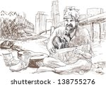the bearded hippie man playing... | Shutterstock .eps vector #138755276